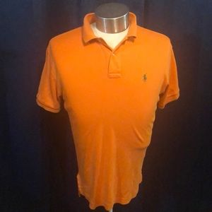 Orange with green Polo size small